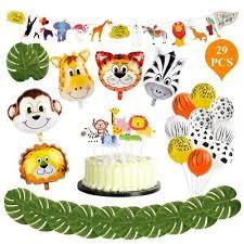 29pcs <b>Jungle Animals Balloons</b> Set Children <b>Safari</b> Birthday <b>Party</b> ...