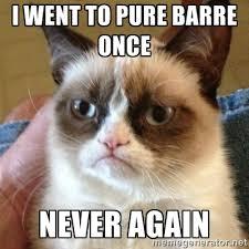 I went to pure barre once NEVER AGAIN - Grumpy Cat | Meme Generator via Relatably.com