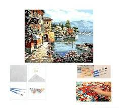 <b>DIY</b> Canvas Painting By Numbers <b>Harbor</b> Village Drawing Brushes ...