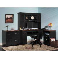 l shaped black painted oak wood computer desk which paired with low height file awesome black painted mahogany