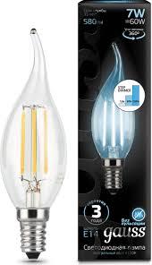 <b>Лампочка Gauss</b> Black Filament LED, свеча, E14, 7W. <b>104801207</b>-<b>S</b>