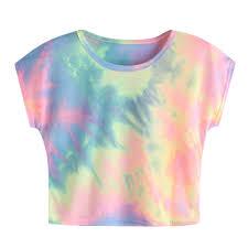 Women's Tie Dye Short Sleeve Casual Loose T Shirt Tops fashion ...