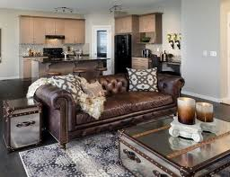brown leather sofa chesterfield living room coffee table chest mirrored surface cheyanne leather trend sofa