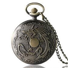 <b>Antique Fiery Dragon Fire</b> Quartz Pocket Watch Necklace Pendant ...