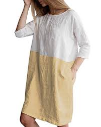 HIUPEB <b>Women's</b> Plus Size 3/4 Sleeve Loose <b>Cotton</b> Linen Top ...