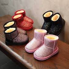SLYXSH New <b>Children</b> print boots <b>Autumn Winter Kids</b> girls flat heel ...