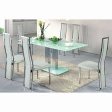 white dining room set sale ice dining table in frosted glass with  dining chairs white furniture