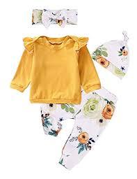 Newborn Baby Girls Clothes Ruffle T-Shirt + Floral ... - Amazon.com