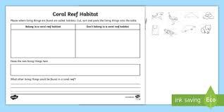<b>Coral Reef</b> Habitat Worksheet / Worksheet (teacher made)