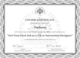 nadeem khan course certificate get your first job as a ux or nadeem khan course certificate get your first job as a ux or interaction designer