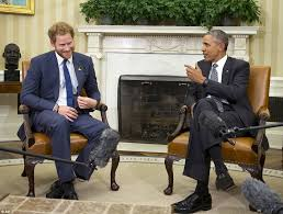 cordial a relaxed prince harry was all smiles as he met president obama in the barak obama oval office golds
