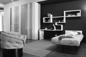 stylish white wall shelving and desk combined with black wall and grey rug of contemporary bedroom bedroom ideas black white