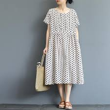 Loose <b>Polka Dot</b> Summer <b>Cotton</b> Dresses For <b>Women</b> Q19065 ...