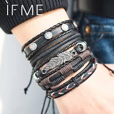 IF ME Vintage Leaf Feather Multilayer <b>Leather Bracelet Men Fashion</b> ...