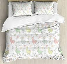 Llama Duvet Cover Set with Pillow Shams <b>Cartoon Animal Pattern</b> ...