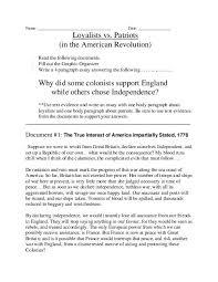 american revolution essay american revolution loyalist vs patriot documents organizer  american revolution