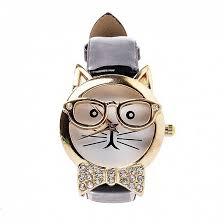 <b>Часы наручные</b> Кот в очках (<b>gold</b>/red)