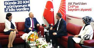 AK Parti-CHP bayramlaşmasında yürüyüş diyaloğu