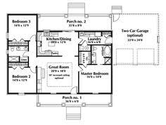 Open Concept Ranch House Plans   mud room   Free Bedroom    One Story Ranch House Plans   Country House Plan First Floor   D