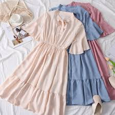 Midi Dress <b>Summer</b> Sweet Comfortable <b>Solid Color</b> Ruffled Long ...