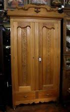 antique maple wood wardrobe armoire ornate pressed scalloped doors 2 drawers old antique english wardrobe armoire