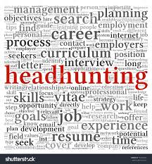 headhunting concept in word tag cloud on white background stock save to a lightbox