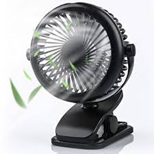 3 Speeds <b>USB Rechargeable Mini</b> Cooling Fan Clip On Desk Baby ...