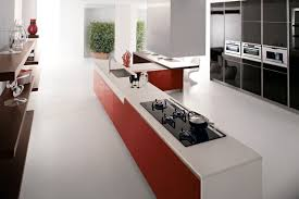 corian kitchen top:  red kitchen units white corian worktop