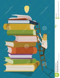 businessman climb up the ladder for ideas form books stock businessman climb up the ladder for ideas form books
