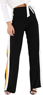 Women Pants Womens Side <b>Striped</b> High Waist <b>Wide Leg Yoga</b> ...