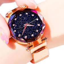 Luxury Starry Sky <b>Women Watches Rose</b> Gold Bracelet Magnet ...