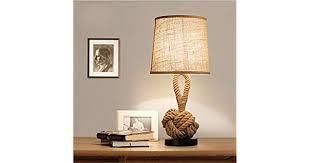 Chuen lung <b>Vintage</b> Hand-made Table Lamp, <b>Hemp Rope</b> + <b>Linen</b> ...