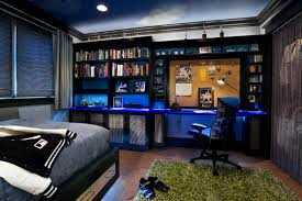 bedroom office decorating ideas gaming blue workspace interior design for your passion bedroom office design ideas
