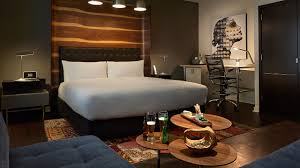 trendy hotel bedroom