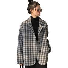 <b>Harajuku Style</b> Black White <b>Plaid</b> Jacket Women 2018 New Spring ...