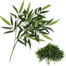 Ketobk Stems <b>Artificial Bamboo Leaf</b> Green Plants Plastic Tree ...