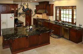 kitchen cabinets with granite countertops: kitchen dark granite countertops with cherry cabinets and recessed lighting for elegant decor kitchen decorating