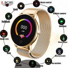 <b>LIGE</b> Women Smart watch Health Monitor Heart Rate / Blood ...