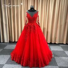 <b>Leeymon</b> Red Wedding Gown <b>Long Sleeves</b> Lace Dress 2019 ...