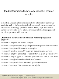 top  information technology specialist resume samplestop  information technology specialist resume samples in this file  you can ref resume materials