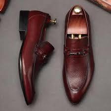 <b>OMDE</b> New Fashion 2019 Black <b>Leather</b> Loafers <b>Pointed</b> Toe Men ...