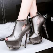 <b>2019</b> Women <b>Platform</b> Stilettos <b>Open Toe High</b> Heels Ankle Boots ...