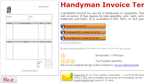 handyman invoice template  af templates printable invoice templates