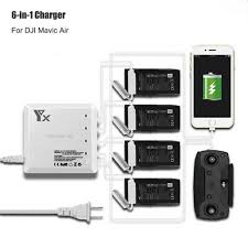 6 in1 dji mavic air intelligent battery and remote controller charger usb port hub 4 batteries charging for drone