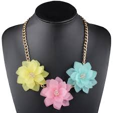 Claire Jin <b>Big Three Flowers</b> Necklace for Women Jewelry Fashion ...