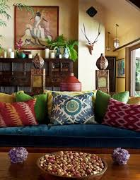 charming bohemian living room with blue sofa and colorful cushion also wooden table bohemian living room furniture