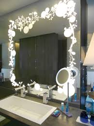 f unusual decorative led lighted mirror vanity for bathroom sink with stylish florals lighting wall mirrors and white ceramic rectangle sink using silver bathroom sink lighting