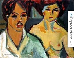 Ernst Ludwig Kirchner ID : 20373 - self-portrait-with-model-by-ernst-ludwig-kirchner