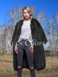 Super stylish long <b>real fox fur black</b> winter coat for women