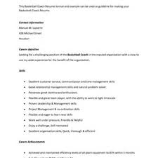 basketball coaching resume s coach lewesmr sample resume basketball coach resume skills pic